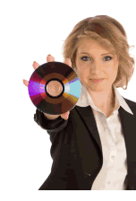 image of a woman holding a CD